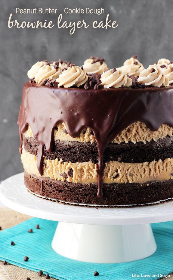 Peachy Peanut Butter Cookie Dough Brownie Layer Cake Recipe Peanut Personalised Birthday Cards Veneteletsinfo