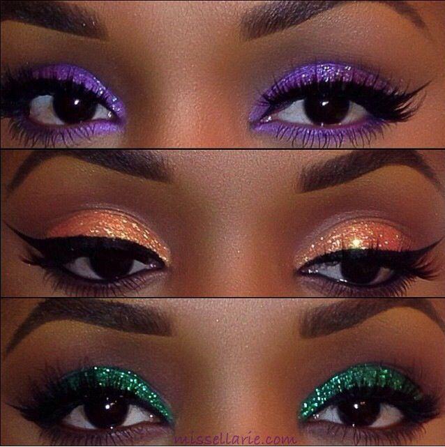 Makeup For Black Beauty Ebony Women Glitter Eyeshadow Purple