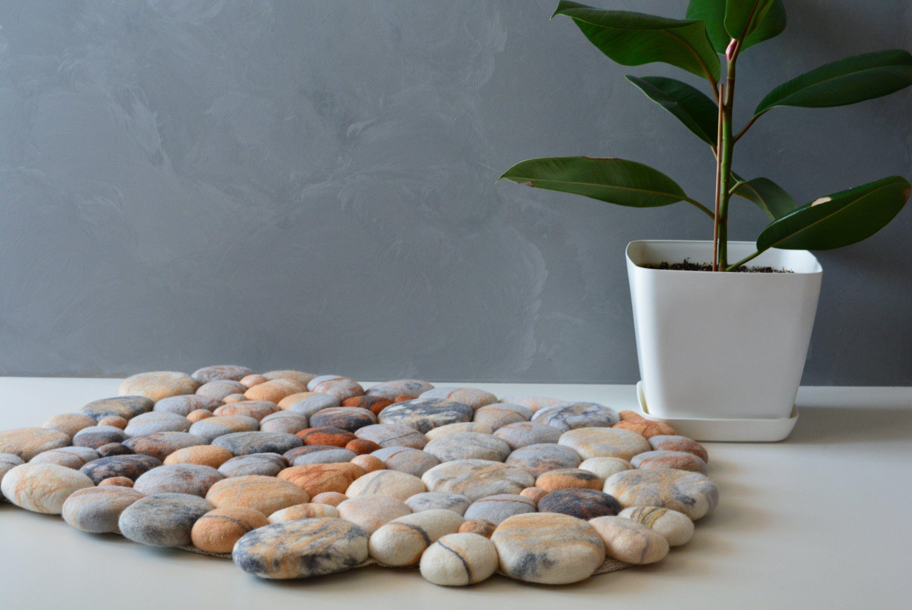 Stone Carpet Wool Pebbles Felt Stone Rug Rock Rug Stone Rug Pebble Rug Stone Rug Rugs Colorful Rugs