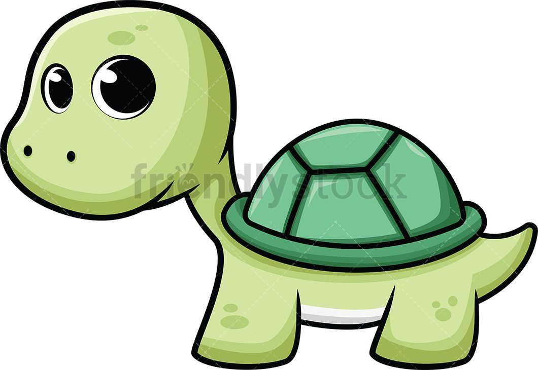 Cute Baby Sea Turtle Cartoon Vector Clipart Friendlystock Cute