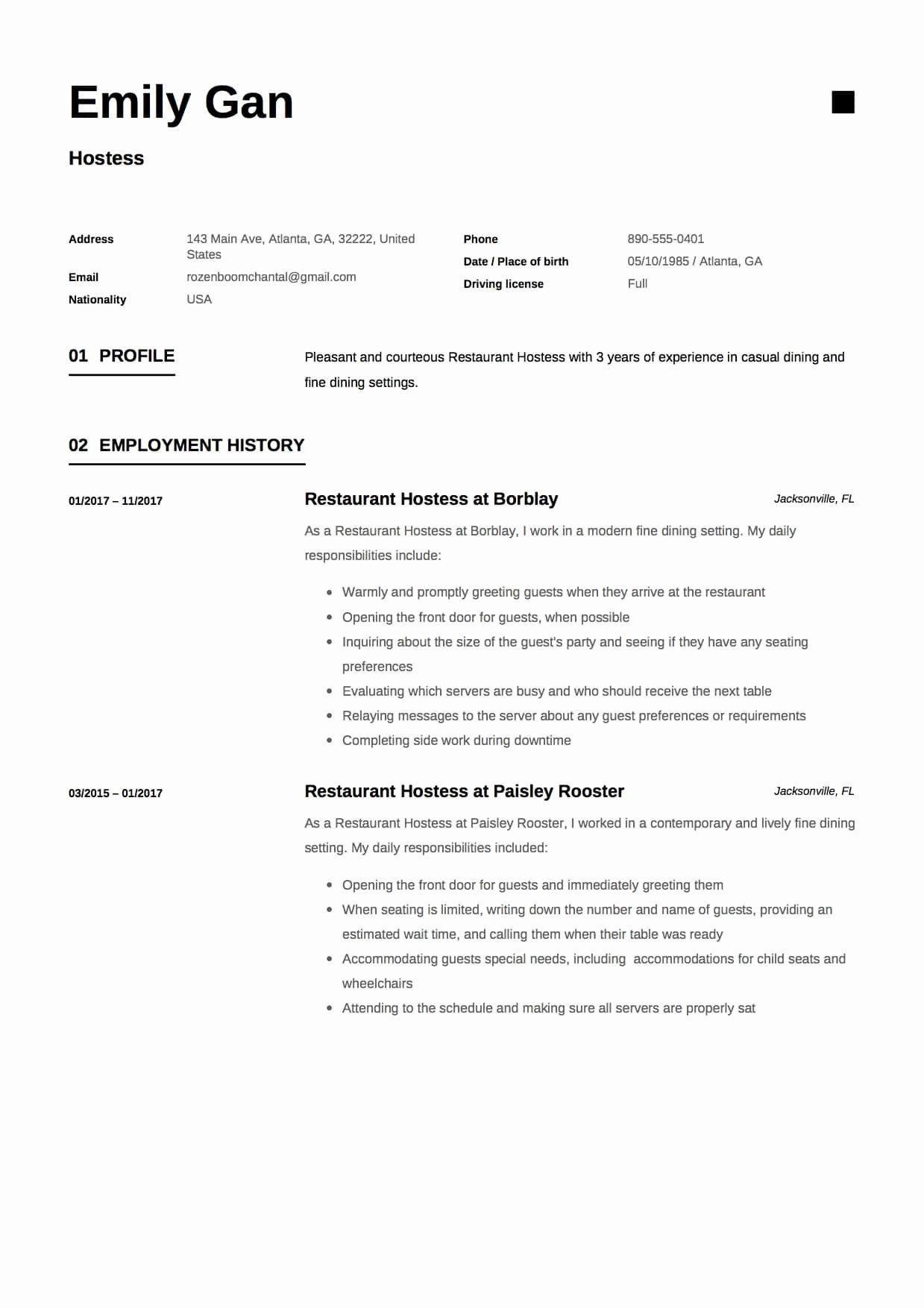 46+ Event hostess job description for resume Examples