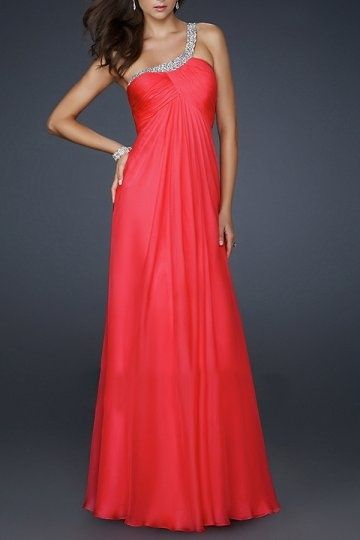 A-line One-shoulder chiffon ball gown