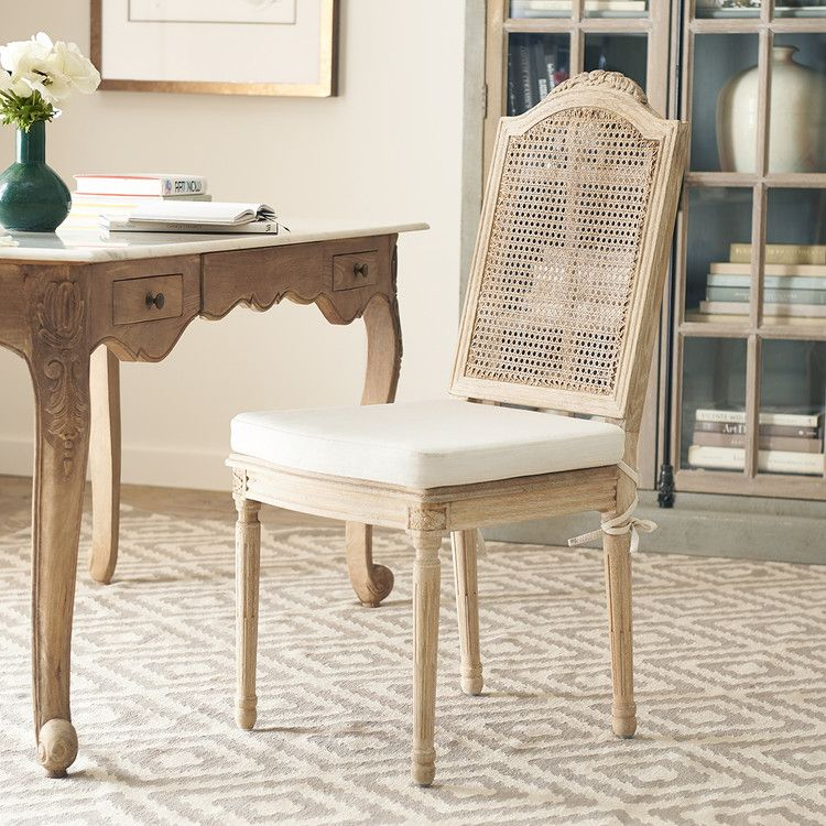 Oak Rattan Dining Chair With Linen Cushion In 2020 Rattan