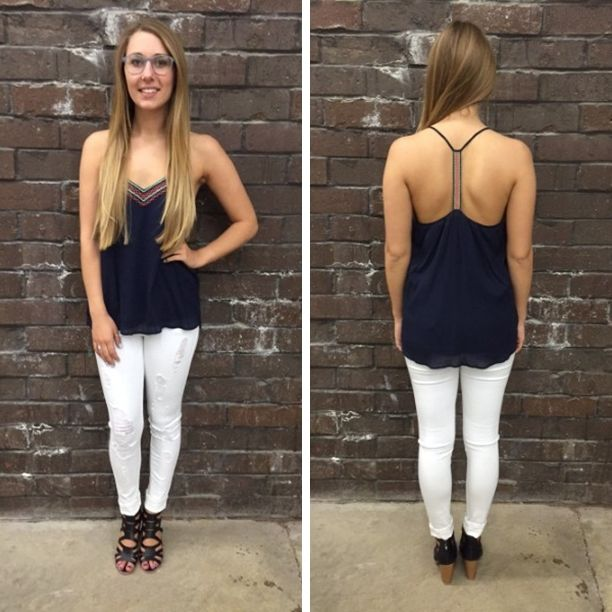 This simple top has such a cute fit and we LOVE the racerback! - $54 #newarrival #summerfashion #ootd #summerarrivals #apricotlanedesmoines #shoplocal #shopalb #apricotlaneboutique #aldm