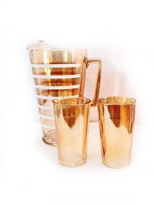 Vintage Striped Glass Pitcher | eBay