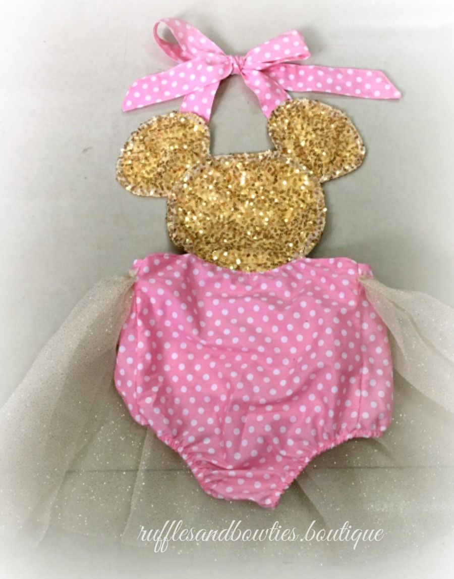 6c0a3c210267 Minnie Mouse First Birthday - Pink and Gold Sparkle for your Princesses  Miss Mouse First Birthday Tutu Romper - Miss Mouse First Outfit