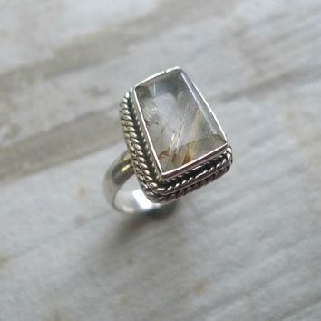 Rutilated Quartz Ring, Vintage Sterling Silver Ring, Big Stone Ring, Statement Ring, Size 6 1/4