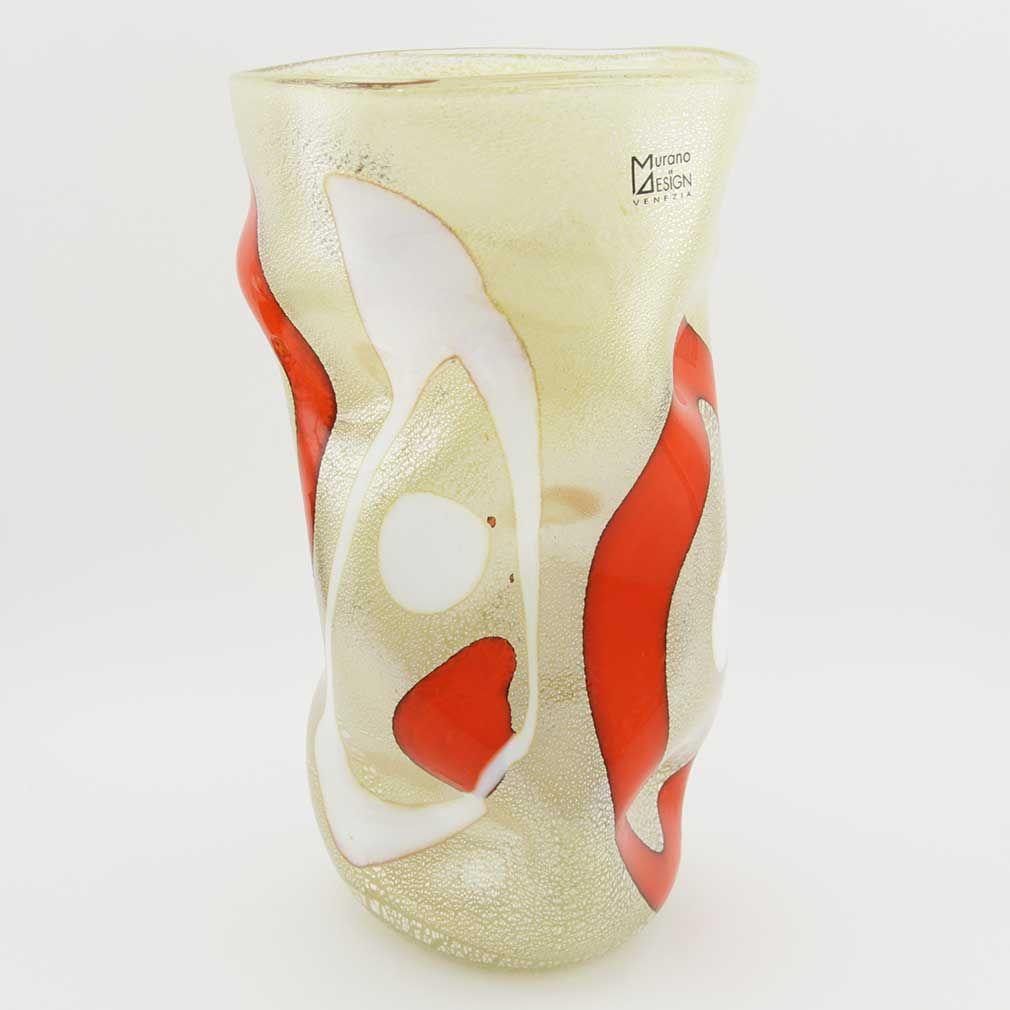 Murano Art Glass Wavy Vase - Cream and Red