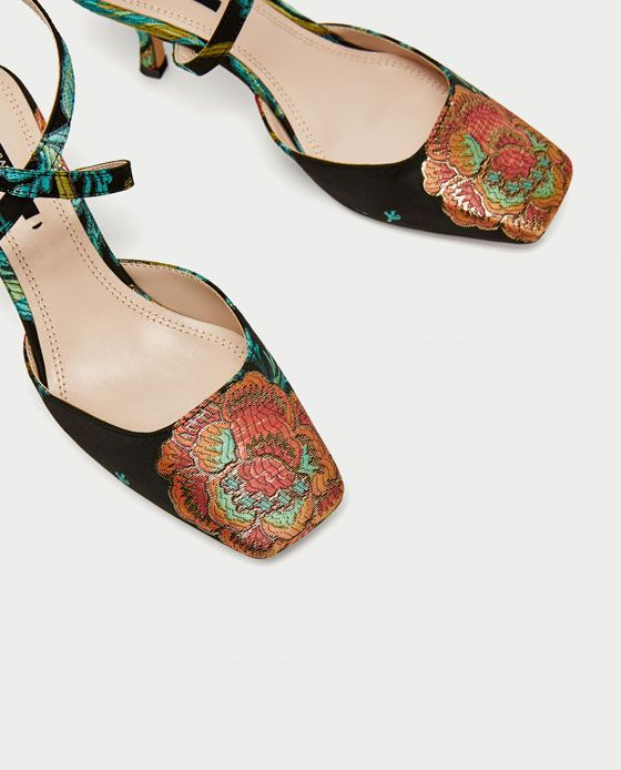 19846bf5989 Image 5 of EMBROIDERED KITTEN HEEL SLINGBACK SHOES from Zara
