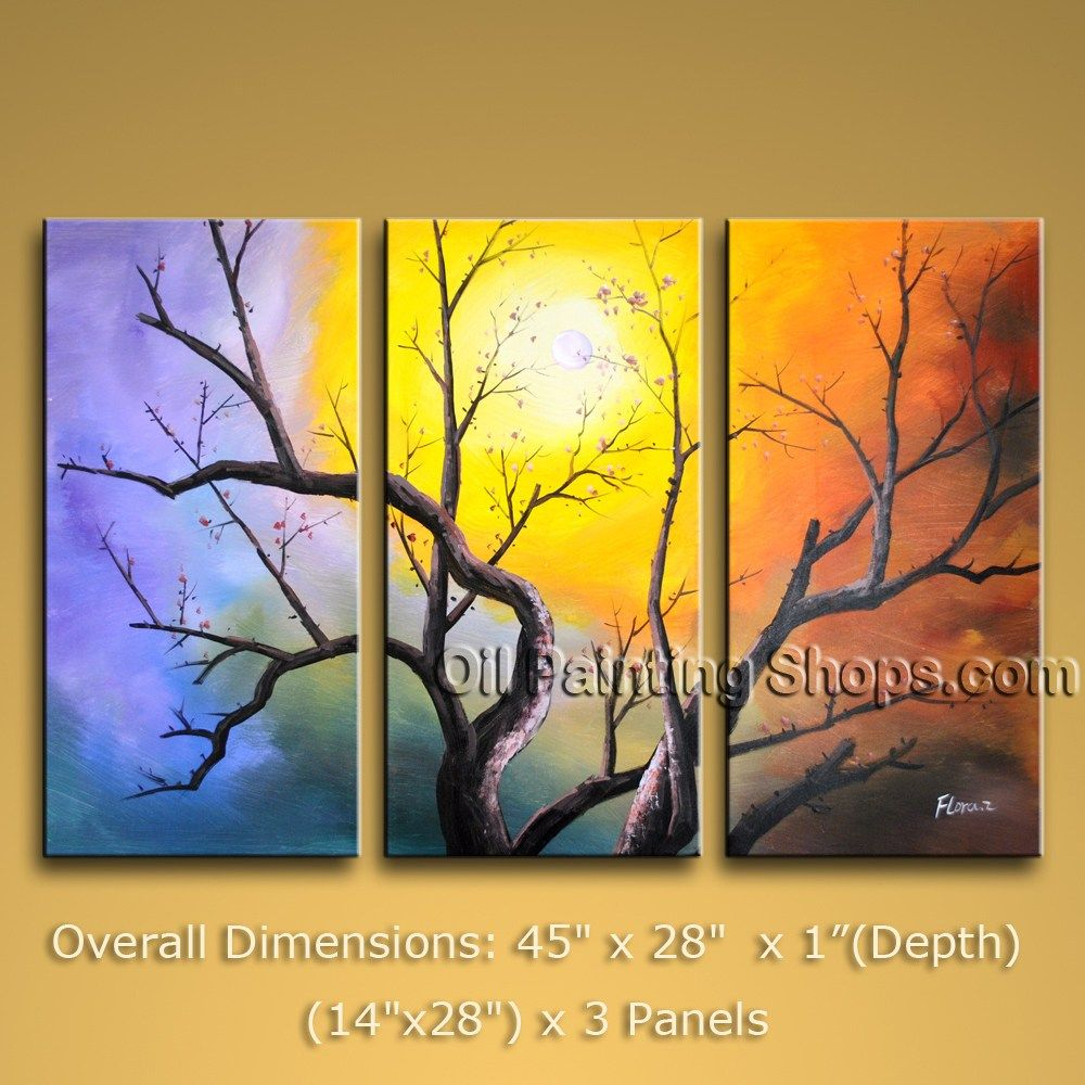High Q. Tri-Panel Wall Art On Canvas Contemporary Blossom Tree 45