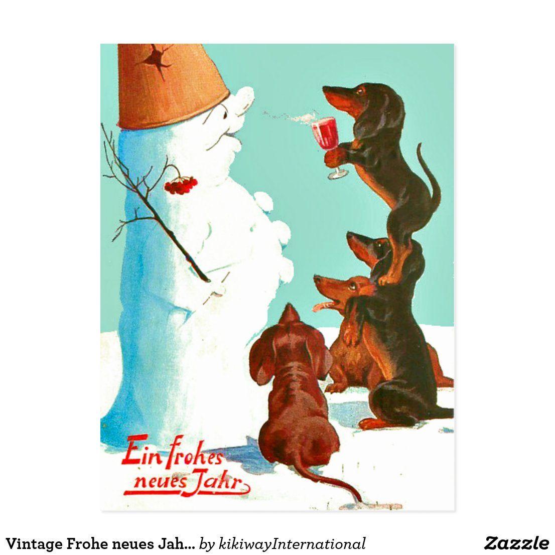Vintage Frohe neues Jahr dachshunds German Postcard