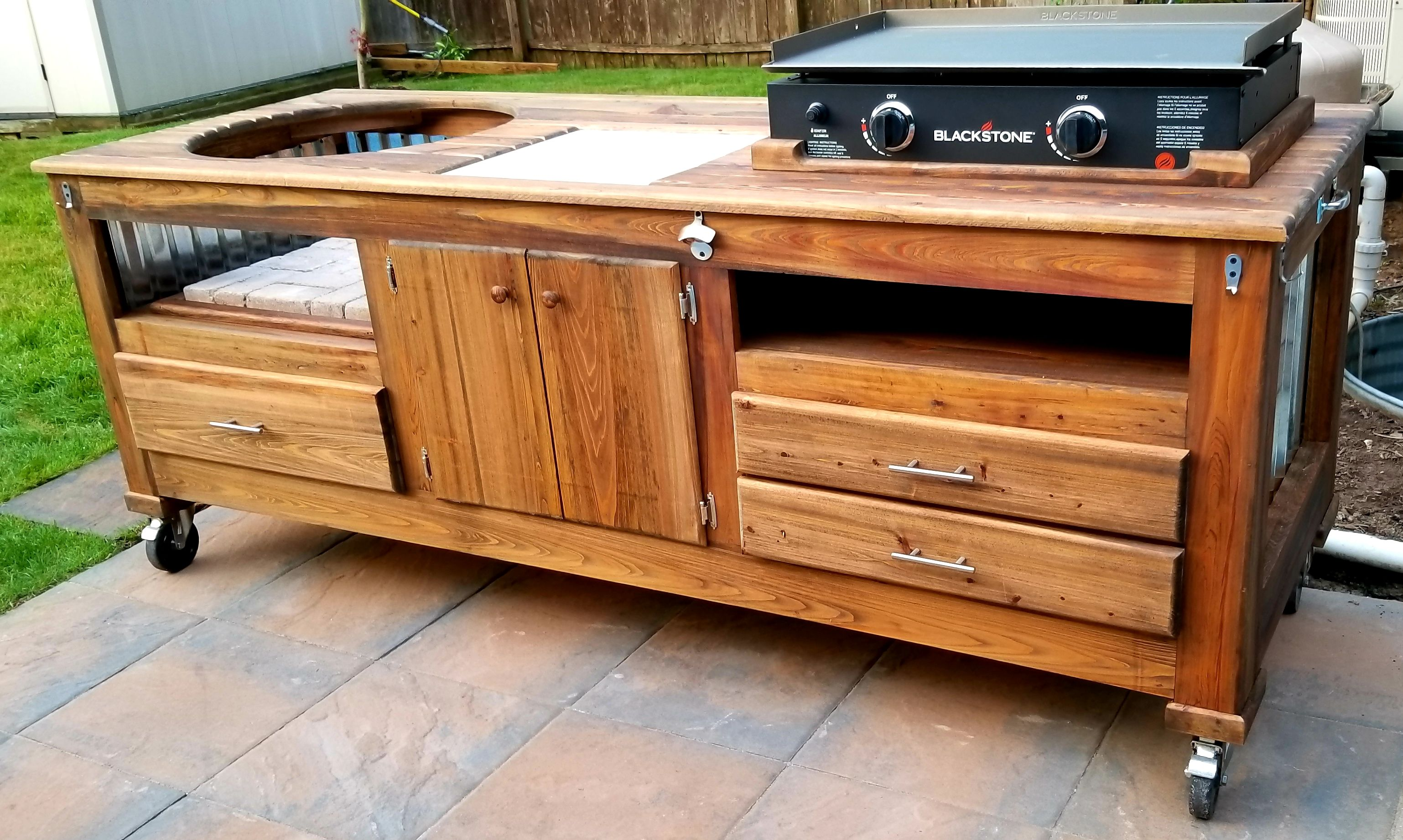 Griddle Kamado Combo Table Wood By Dana Outdoor Kitchen Design Layout Diy Outdoor Kitchen Outdoor Kitchen
