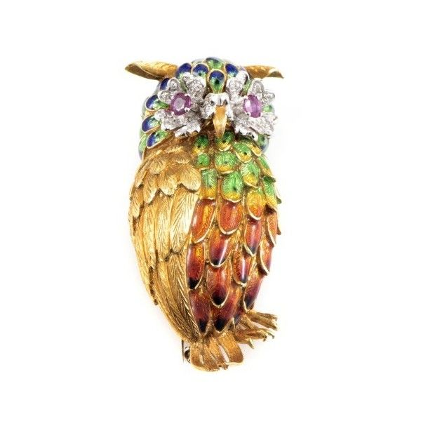 Pre-owned 18K Multi-Tone Gold Enamel & Precious Gemstone Owl Brooch (11.386.830 COP) ❤ liked on Polyvore featuring jewelry, brooches, pre owned jewelry, rainbow jewelry, 18 karat gold jewelry, preowned jewelry and owl brooch