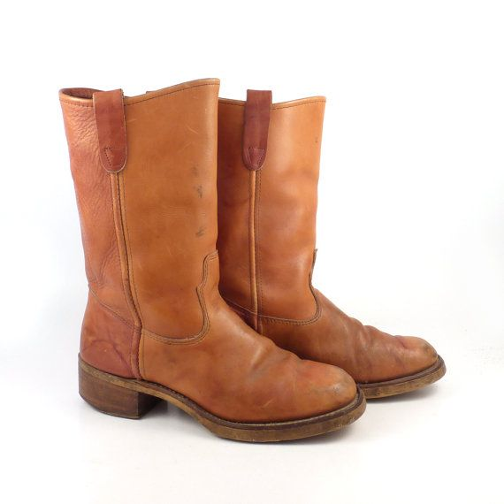 7d1892914b93e Campus Leather Boots Vintage 1970s Carmel by purevintageclothing ...