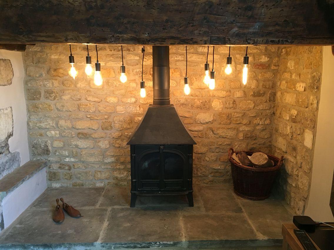 inglenook fireplace edison lights lighting pinterest