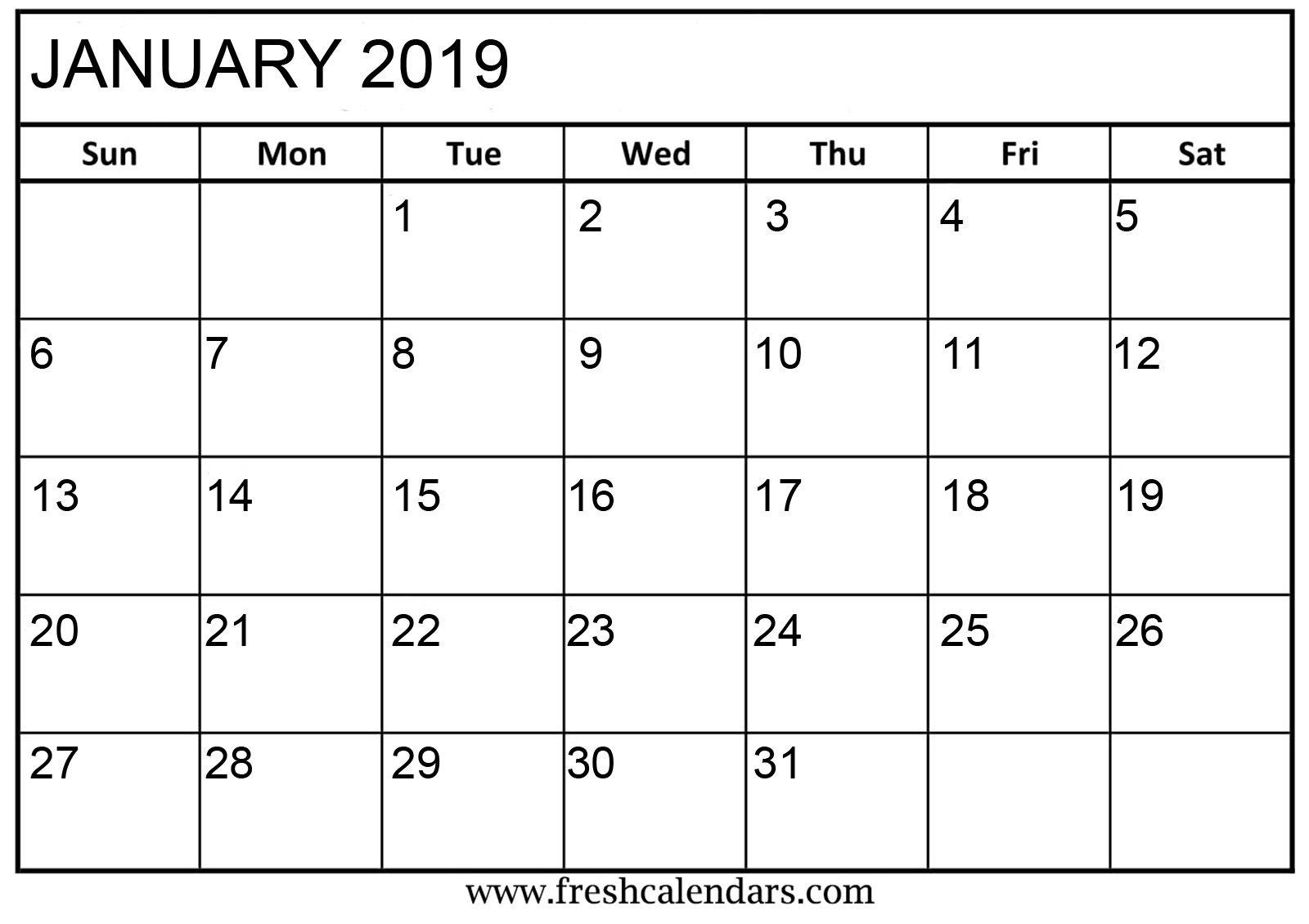 January 2019 Basic Printable Calendar Monthly Calendar Printable