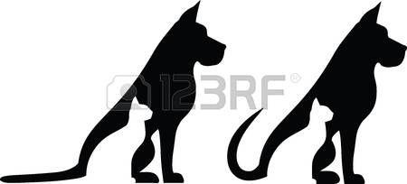 gatti stilizzati Cane e gatto sagome composizioni Vettoriali
