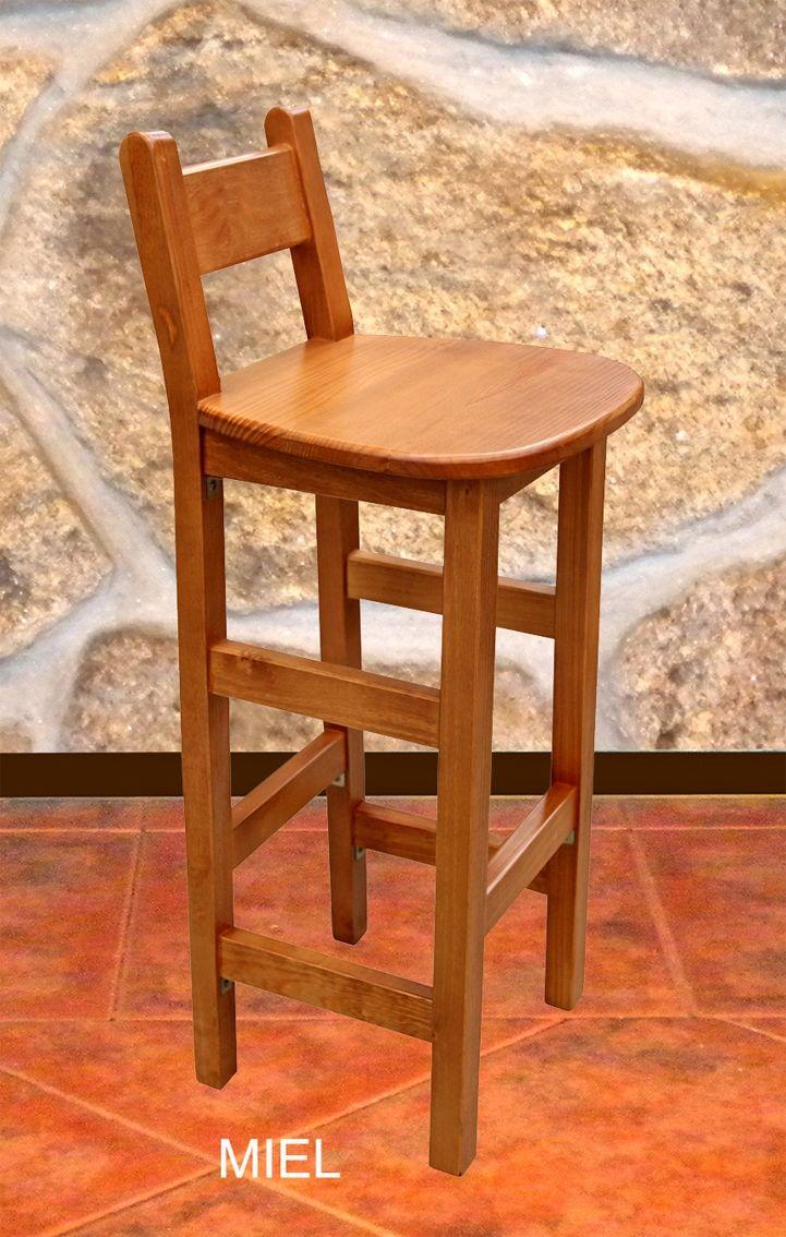 TABURETE MADERA CON RESPALDO | Sillas de madera rusticas