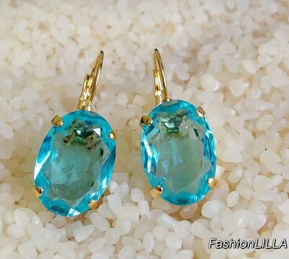 Aquamarine Czech glass oval drop earring,blue earring,aquamarine jewelry gold,br…