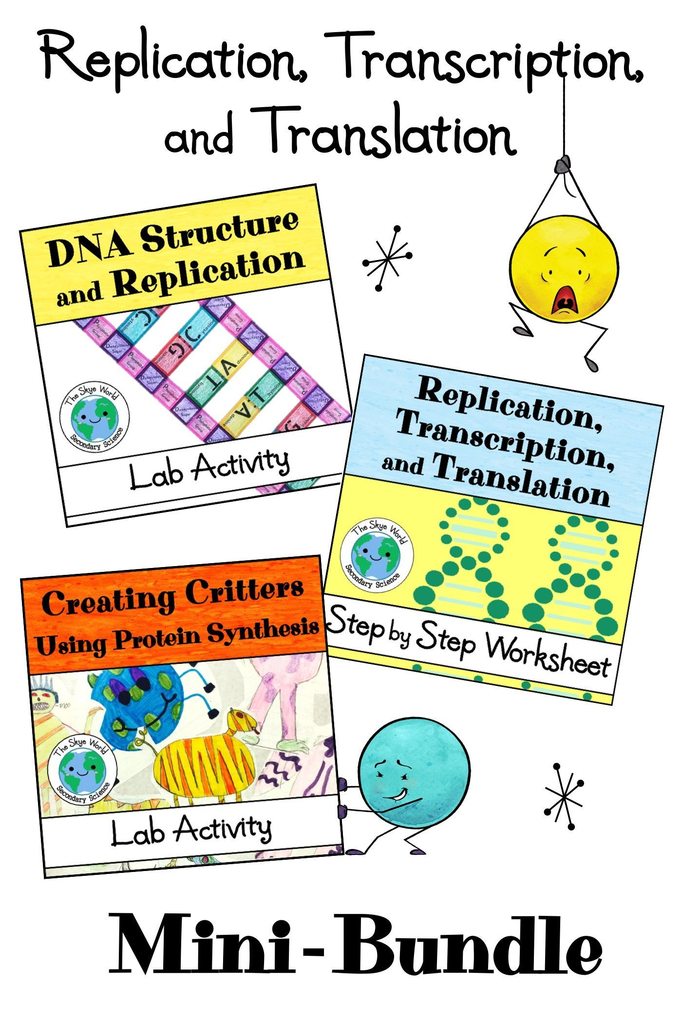 Dna Replication Transcription And Translation Mini Bundle Of Activities Transcription And Translation Transcription Free Science Worksheets