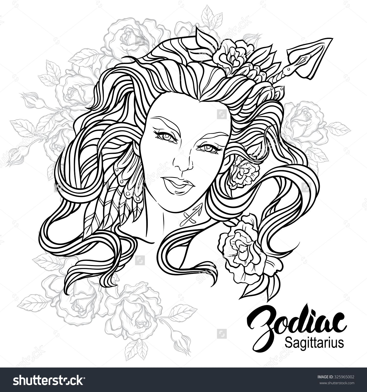 Free printable zodiac coloring pages - Zodiac Vector Illustration Of Sagittarius As Girl With Flowers Design For Coloring Book Page Stock Vector From The Largest Library Of Royalty Free
