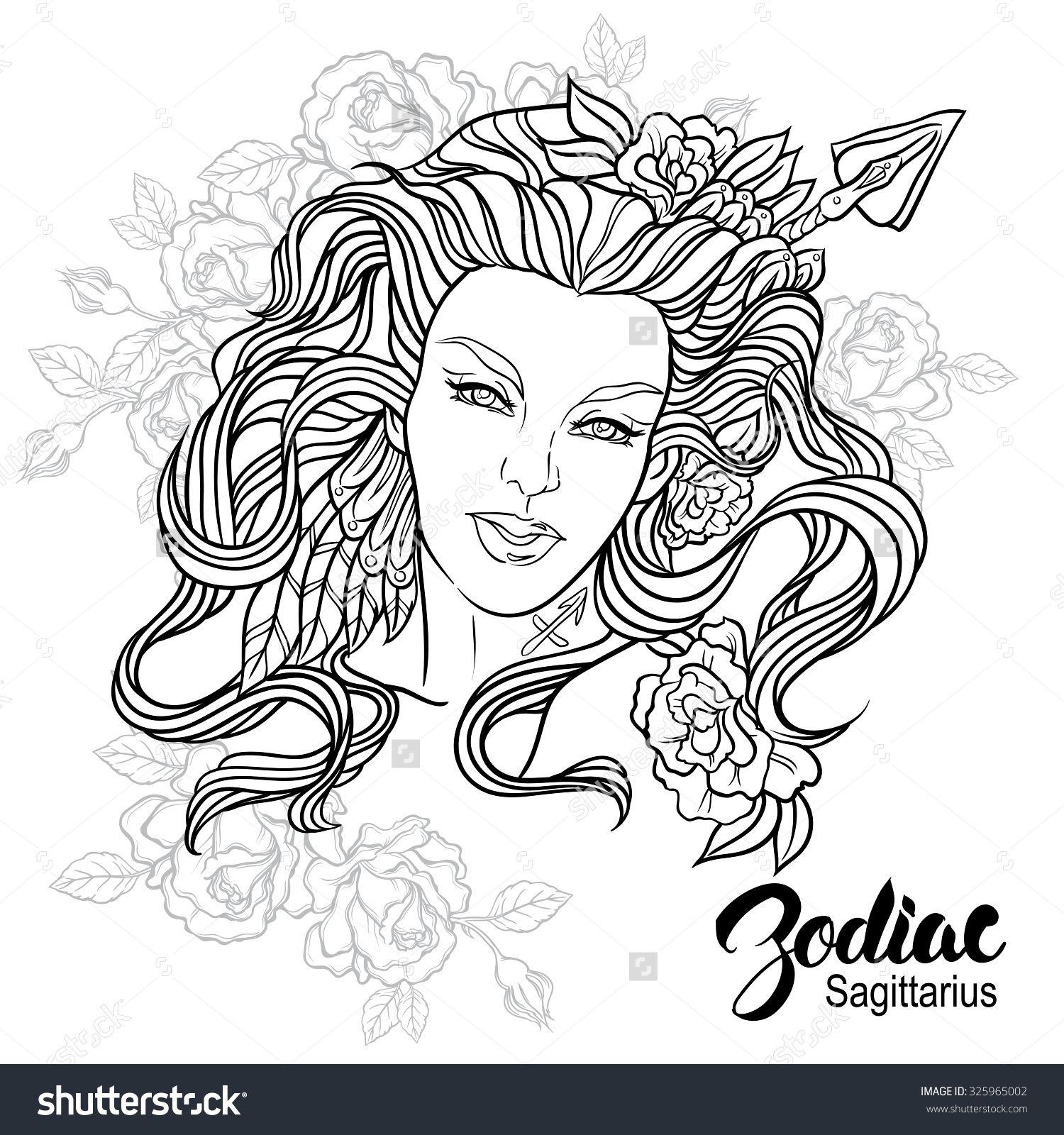 Zodiac. Vector illustration of Sagittarius as girl with flowers