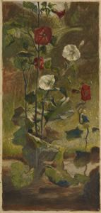 """Hollyhocks,"" John La Farge, 1879-1882, watercolor and gouache on paper, 7 1/4 x 3 1/2"", Colby College Museum of Art."