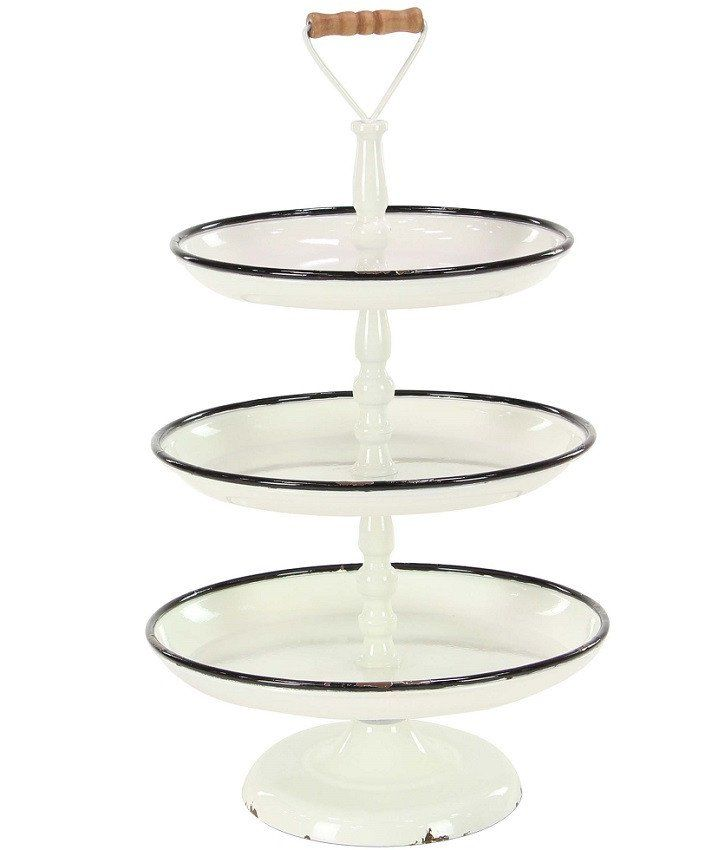 Enamel Metal 3 Tier Stand With Wooden Handle Tiered Stand Wooden Handles Tiered Tray Decor
