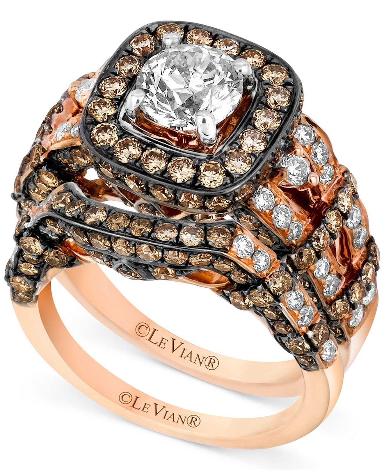 le vian 14k rose gold ring set white diamond 1 3 8 ct t w and
