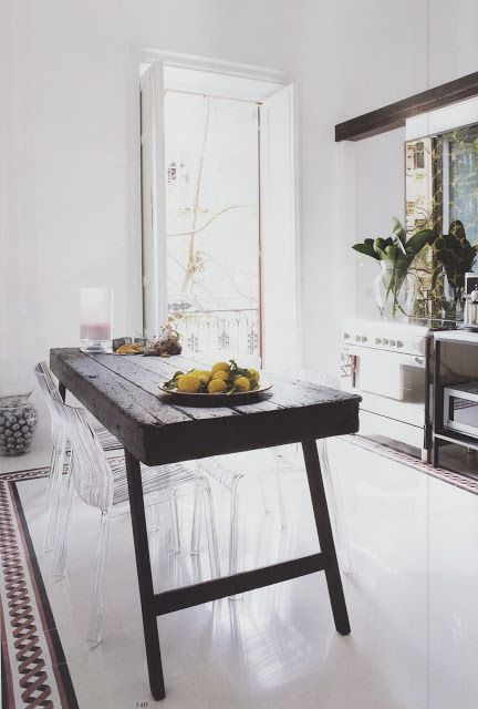 table made from old wooden door with transparent chairs interior rh pinterest com au