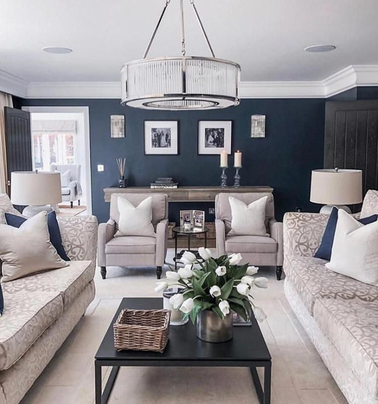Outstanding Farmhouse Living Room Are Available On Our Website Look At This And You Wont In 2020 Blue Walls Living Room Blue Living Room Decor Navy Walls Living Room