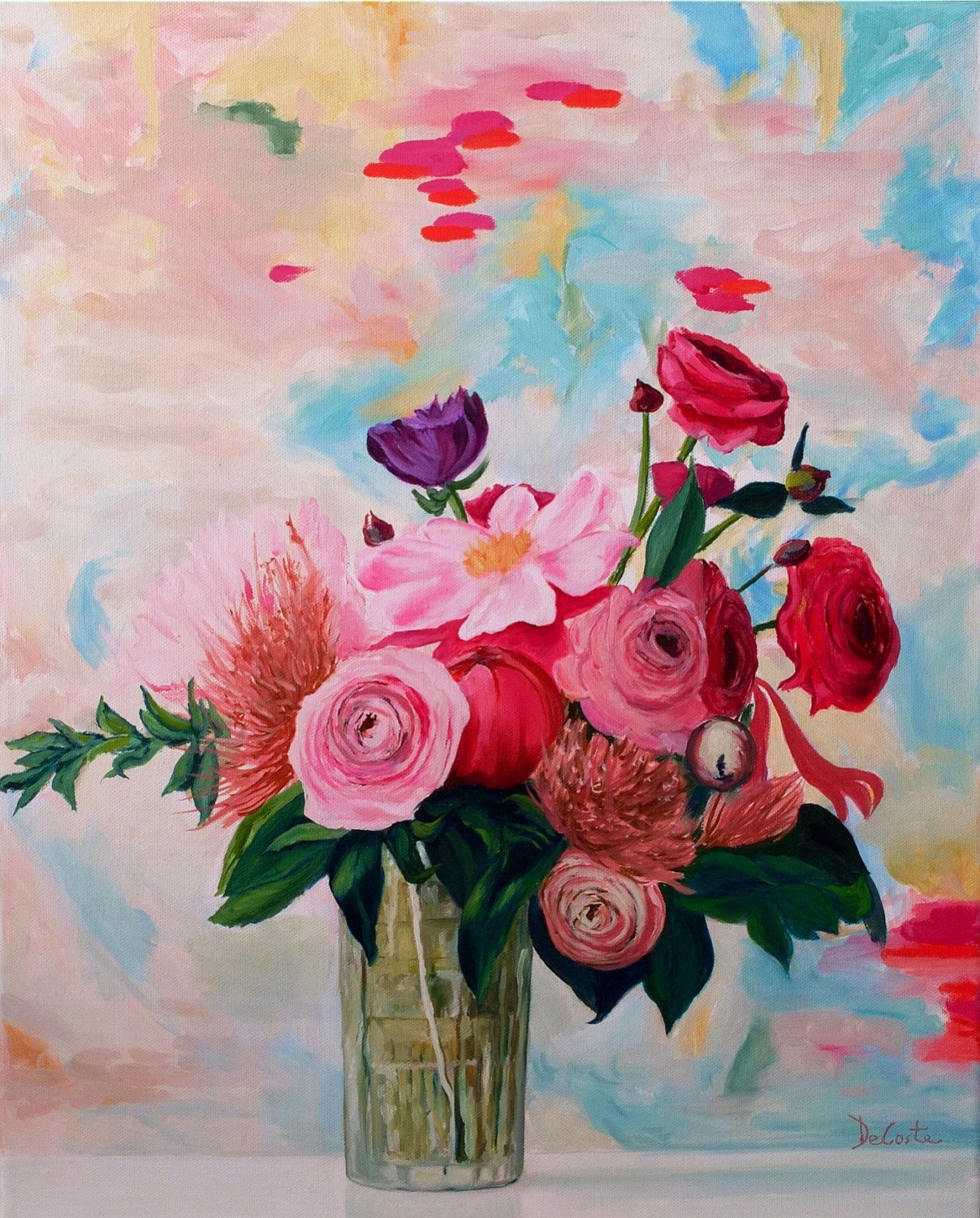 Print of colorful flowers from an oil painting by JeanneDeCosteart ...