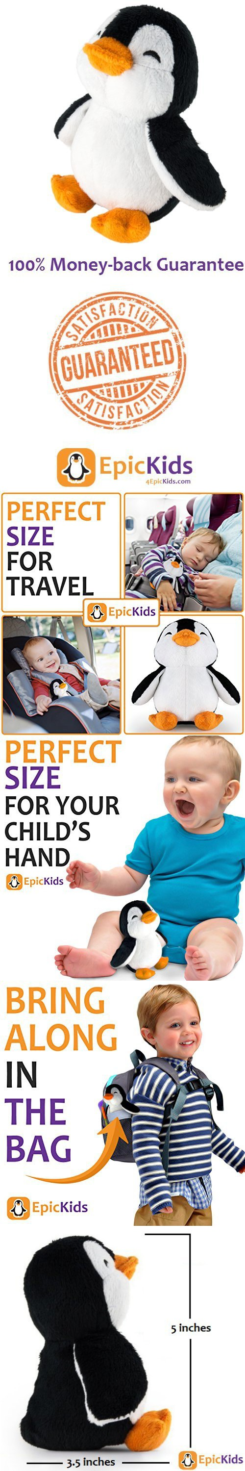 Stuffed Penguin - Plush Animal Thats Suitable For Babies and Children - 5 Inch Tall - By EpicKids