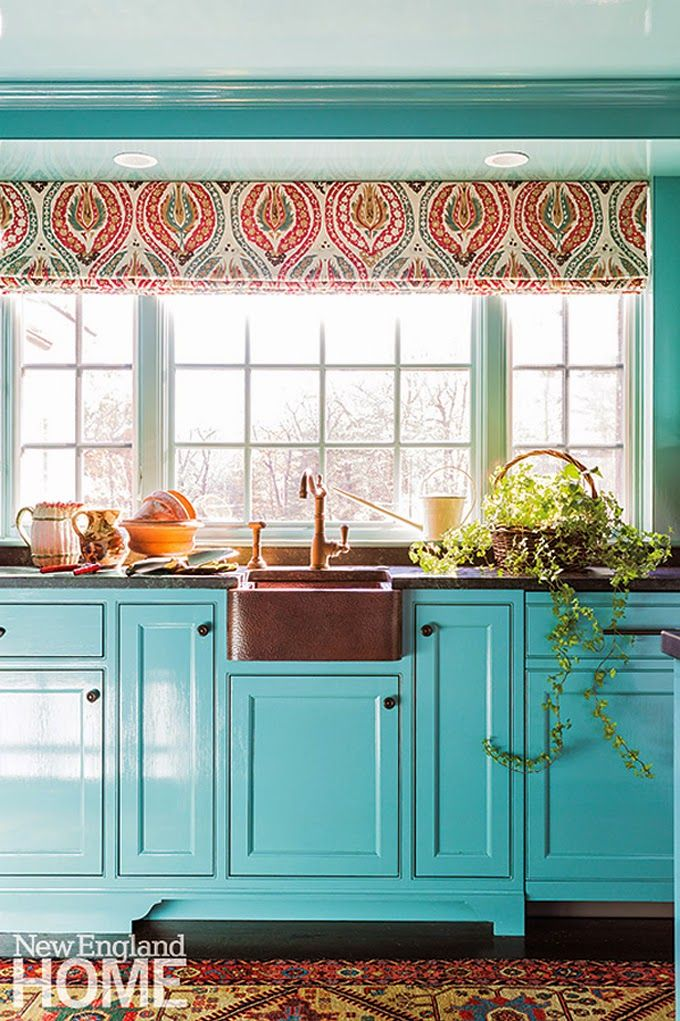 House Of Turquoise Mally Skok Design Teal Kitchen Cabinets Aqua Kitchen Turquoise Kitchen Decor