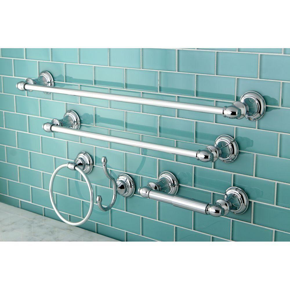 kingston brass 5 piece bathroom accessory set in polished chrome rh pinterest ca