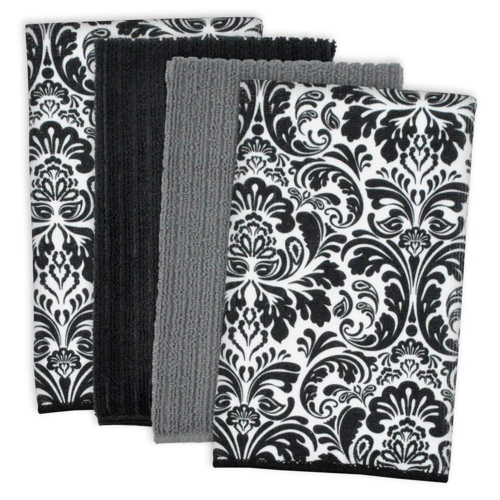 details about 4 piece dish towels kitchen dusting 2 black damask 1 rh pinterest com