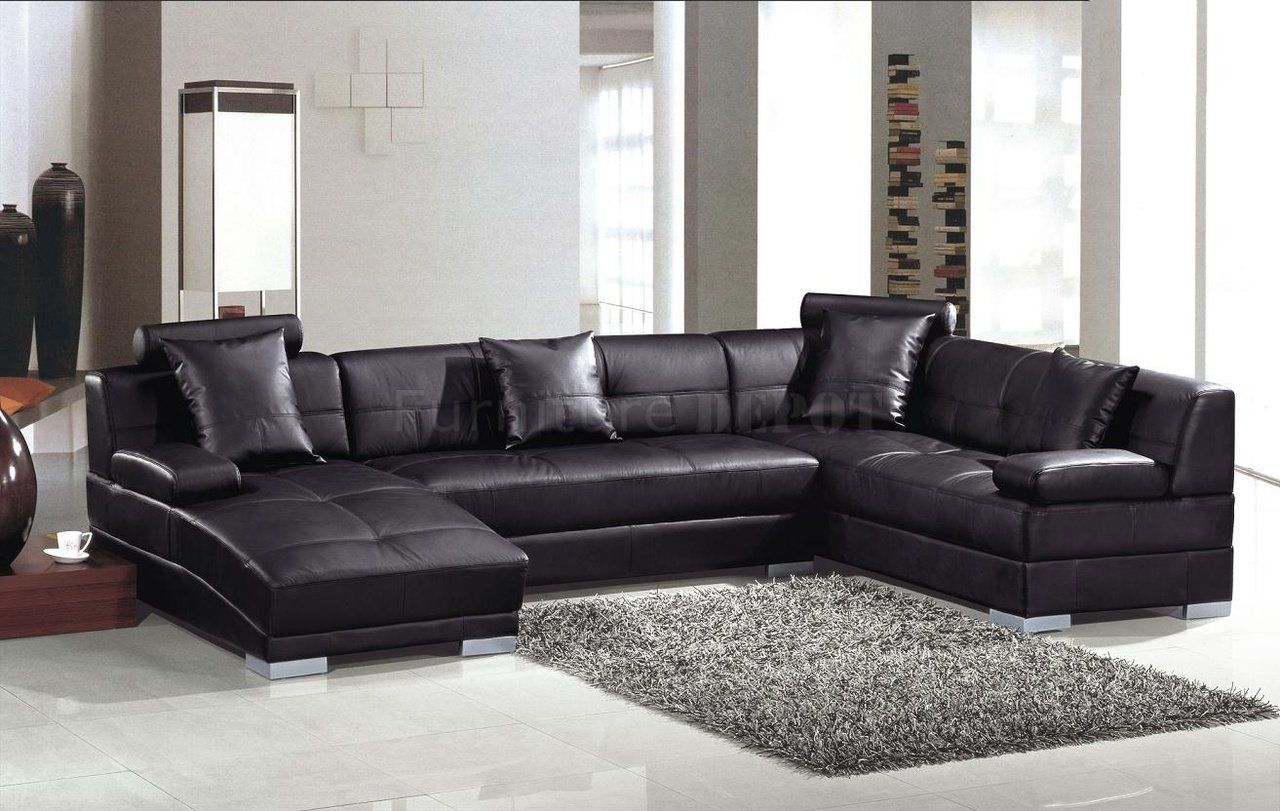 3334 black leather sectional sofa by vig wadjustable headrests. beautiful ideas. Home Design Ideas