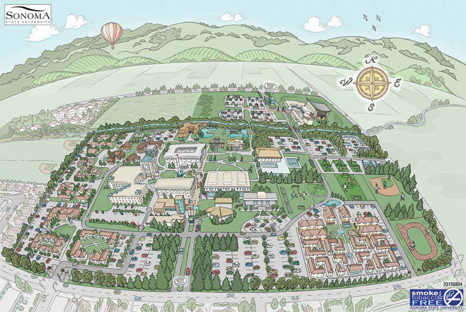 Map of Sonoma State University Campus. Click each link, or ...