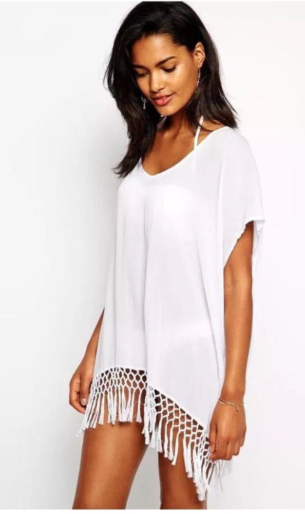72daaeb56f0a2 White Kimono Tassels Beach Dress Swimsuit Cover Up with Fringe M L in Stock  USA | eBay