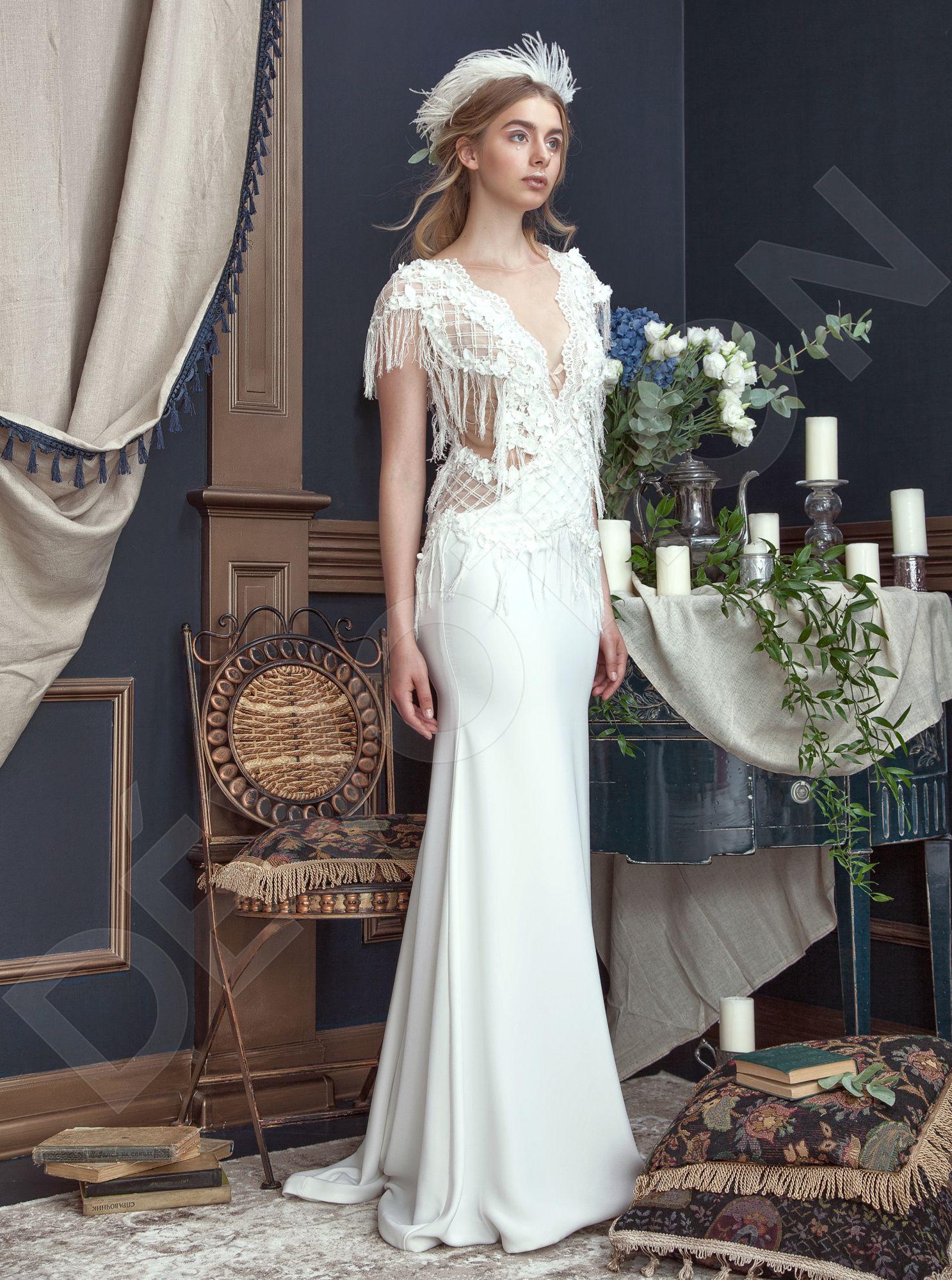Calisto Modern Crepe fabric Wedding dress Milk