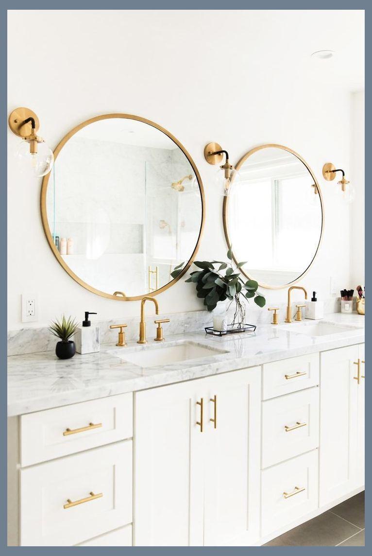 Photo of Wie die weißen Schränke, Marmorplatten, goldene runde Spiegel, Leuchten Preiswertes Bat … – New Ideas