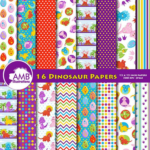 Dinosaur Papers Birthday Party digital papers Baby Dino