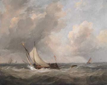 Painting of sailing boats on stormy seas
