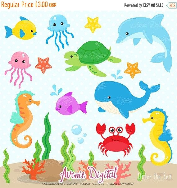 Under The Sea Clipart Scrapbook Printable Cute Sea Animals Clip Art Png For Commercial Use Dolphin Whale Fish Crab Nautical Graphics Under The Sea Clipart Sea Clipart Clip Art