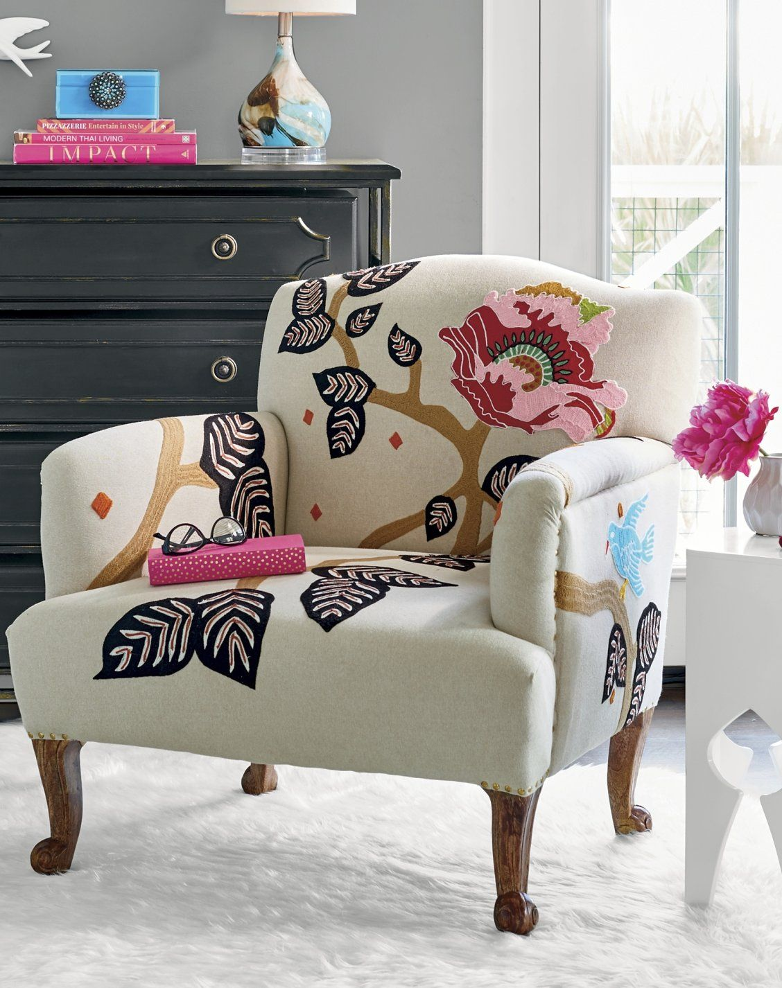 Linnet Embroidered Armchair With Images Chic Accent Chairs