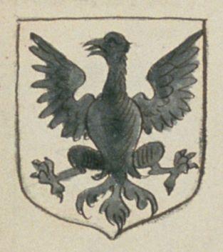 Jeanne des MAZIERES, fille. Porte : d'argent, à un aigle de sable | N° 2 > Angers