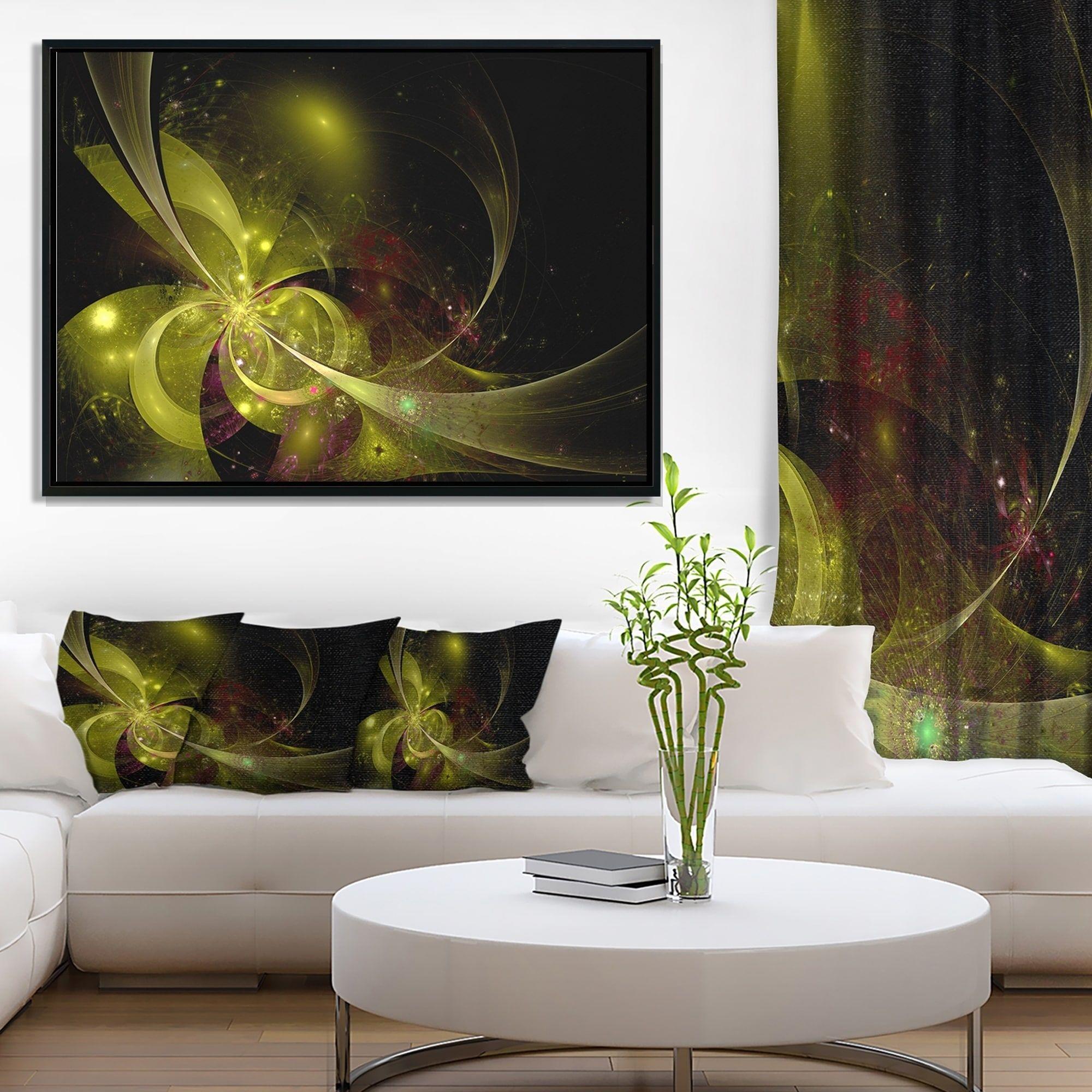 living room art prints%0A Designart  u    Symmetrical Soft Gold Fractal Flower u     Floral Framed Canvas Art  Print