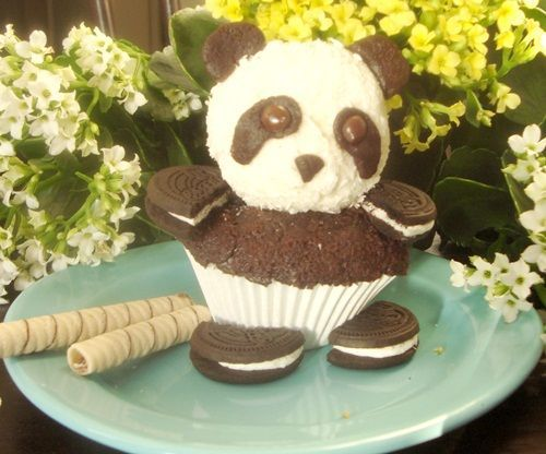 Cupcake Panda con galletas Oreo   Fiestas y Cumples