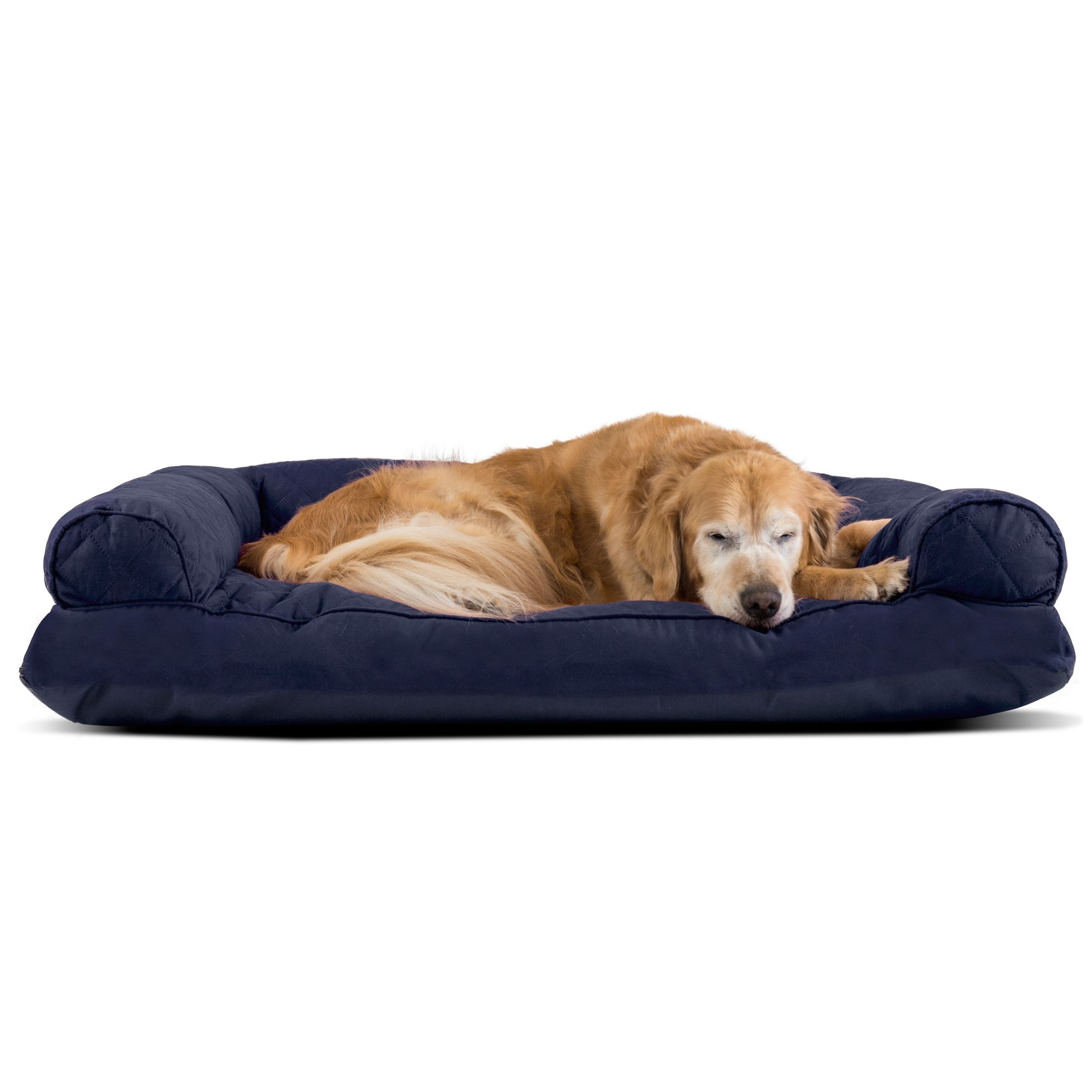 Amazing Furhaven Polycanvas Quilted Pillow Sofa Dog Pet Bed Blue Home Interior And Landscaping Palasignezvosmurscom