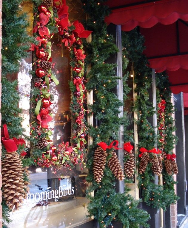 A festive store front complete with giant pine cones-- www.aspenbranch.com